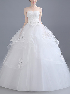 White Sweetheart Ball Gown Tiered Beading Plus Size Dress for Wedding
