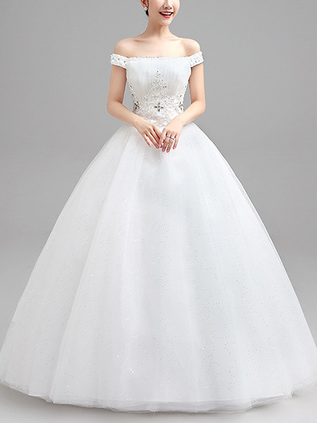 Wedding Dress For   Ph : White off shoulder ball gown beading plus size dress for