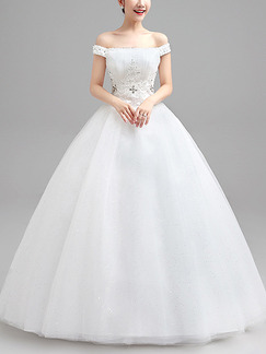 White Off Shoulder Ball Gown Beading Plus Size Dress for Wedding