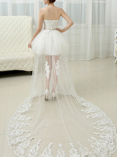 White Sweetheart Beading Sash Crystal Embroidery Plus Size Dress for Wedding