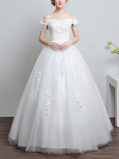 White Off Shoulder Princess Appliques Beading Plus Size Dress for Wedding