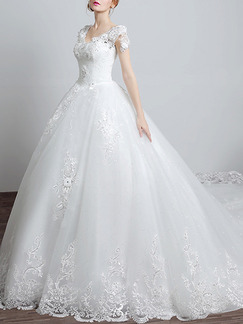 White Scoop Princess Embroidery Beading Plus Size Dress for Wedding