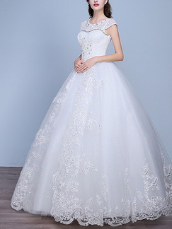 White Jewel Ball Gown Beading Embroidery Plus Size Dress for Wedding