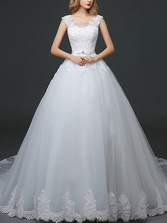 White Jewel Princess Embroidery Beading Plus Size Sash Dress for Wedding