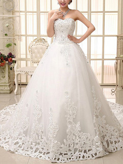 White Sweetheart Princess Beading Embroidery Plus Size Dress for Wedding