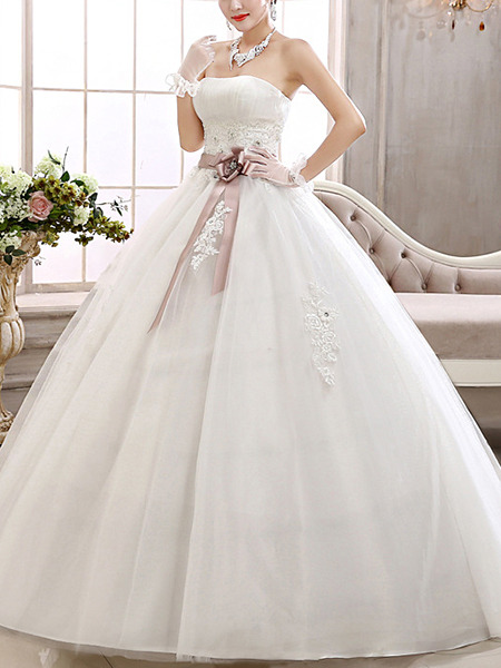Wedding Dress For   Ph : White strapless sash ribbon ball gown plus size dress for