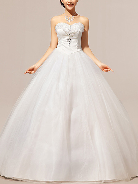 White Sweetheart Princess Beading Crystal Plus Size Dress for Wedding