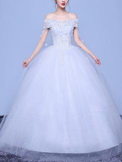 White Off Shoulder Ball Gown Beading Appliques Plus Size Dress for Wedding