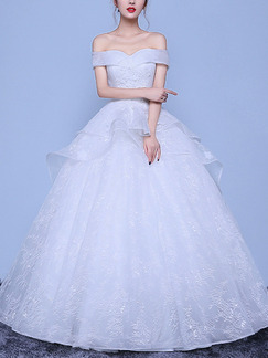 White Off Shoulder Ball Gown Plus Size Embroidery Dress for Wedding
