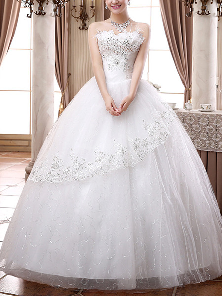 Wedding Dress For   Ph : White strapless ball gown embroidery beading plus size