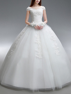 White Bateau Ball Gown Plus Size Appliques Dress for Wedding
