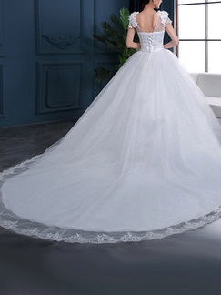 White V Neck Ball Gown Plus Size Embroidery Appliques Dress for Wedding