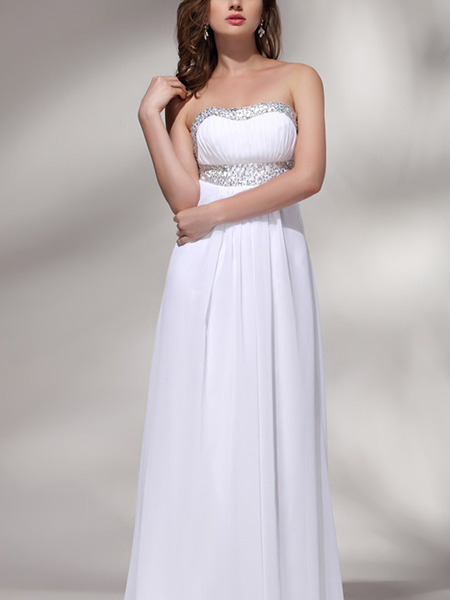 White Strapless A-Line Plus Size Crystal Dress for Wedding