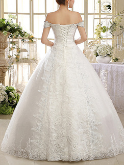 White Off Shoulder Princess Embroidery Appliques Crystal Beading Plus Size Dress for Wedding