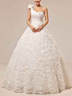 White One Shoulder Appliques Princess Plus Size Beading Dress for Wedding