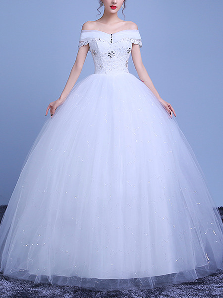 White Off Shoulder Beading Ball Gown Crystal Plus Size Dress for Wedding