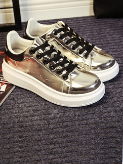 Gold and White Patent Leather Round Toe Platform Lace Up Rubber Shoes