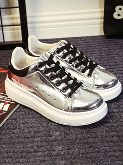 6a62d621c59 Silver and White Patent Leather Round Toe Platform Lace Up Rubber Shoes