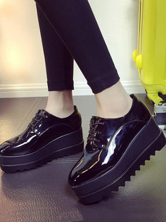 Black Patent Leather Pointed Toe Platform Lace Up Rubber Shoes