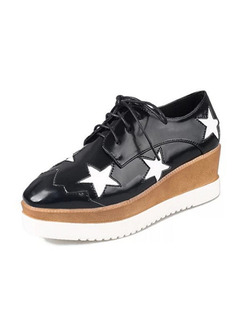 Black and White Leather Pointed Toe Platform Lace Up Rubber Shoes