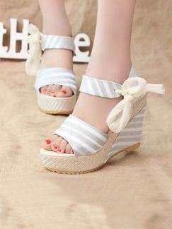 Beige and Grey Canvas Peep Toe Platform Ankle Strap 11cm Wedges Sandals