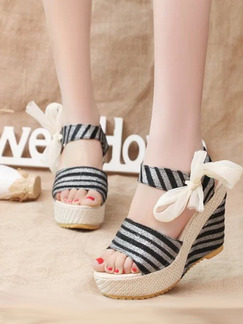 Beige and Black Canvas Peep Toe Platform Ankle Strap 11cm Wedges Sandals