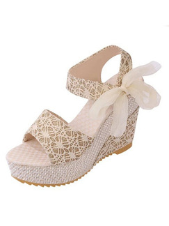 Apricot Canvas Peep Toe Platform Ankle Strap 11cm Wedges Sandals