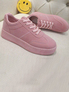 Pink Suede Round Toe Lace Up Rubber Shoes