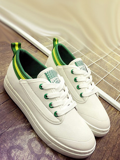 White and Green Canvas Round Toe Lace Up Rubber Shoes