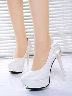 White Leather Round Toe Platform Pumps Stiletto Heel High Heel 11cm Heels
