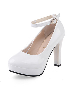White Leather Round Toe Platform Pumps High Heel Ankle Strap 11cm Heels