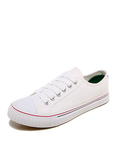 White Canvas Round Toe Lace Up Rubber Shoes