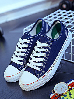 Blue and White Canvas Round Toe Lace Up Rubber Shoes