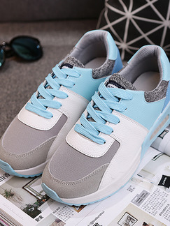 Blue White and Grey Leather Round Toe Lace Up Rubber Shoes