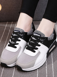 White Black and Grey Leather Round Toe Lace Up Rubber Shoes