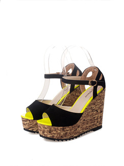 Black Yellow and Brown Suede Peep Toe Platform Ankle Strap 12cm Wedges Sandals