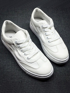 White Leather Round Toe Platform Lace Up Rubber Shoes
