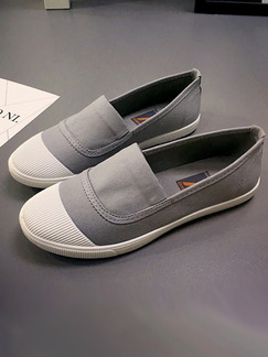 Grey and White Canvas Round Toe Rubber Shoes
