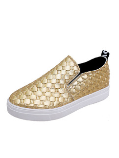 Gold and White Leather Round Toe Platform Rubber Shoes