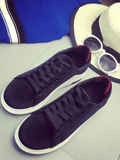 Black and White Suede Round Toe Lace Up 3cm Rubber Shoes