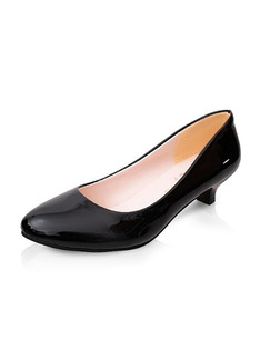 Black Patent Leather Pointed Toe Pumps Low Heel 3cm Heels