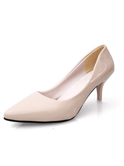Cream Patent Leather Pointed Toe Pumps Low Heel 6cm Heels