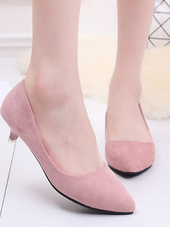 Pink Suede Pointed Toe Pumps Low Heel 3cm Heels