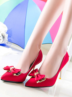 Red and Gold Leather Pointed Toe Pumps Stiletto Heel High Heel 9.5cm Heels