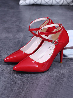 Red Patent Leather Pointed Toe Pumps High Heel Ankle Strap Stiletto Heel 9.5cm Heels