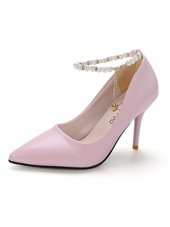 Pink Leather Pointed Toe Pumps High Heel Ankle Strap Stiletto Heel 9.5cm Heels