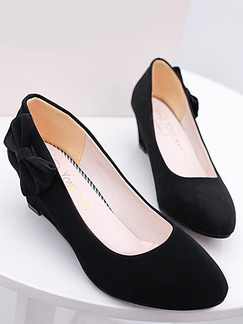 Black Suede Pointed Toe Low Heel 5cm Wedges