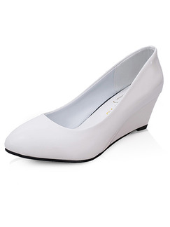 White Patent Leather Pointed Toe Low Heel 5cm Wedges