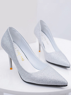 Silver Patent Leather Pointed Toe Pumps High Heel Stiletto Heel 9.5cm Heels