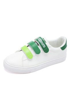 White and Green Leather Round Toe Rubber Shoes